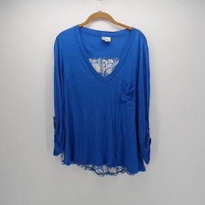 Pouidge Blue Ruched Sleeve Pocket Long Sleeve Top
